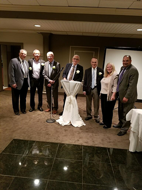 From left to right: Dr. Barry Levinson,  Dr. Juan Baez, Dr. Anthony Tarasenko, Dr. Anthony Inverno, Dr. David Worth, Irene Kapsaskis, Larry Downs